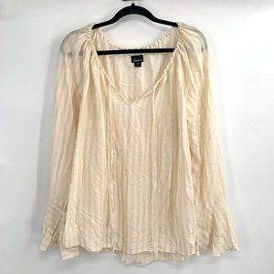 SIMPLY EMMA Striped Bell Sleeve Peasant Top 1X